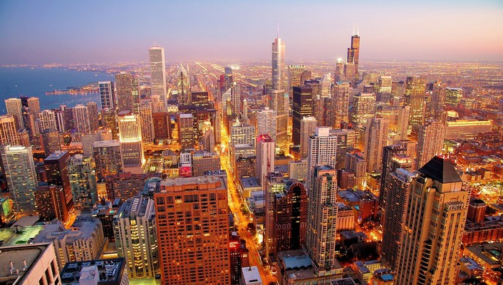 Chicago cityscapes dawn skyscrapers wallpaper