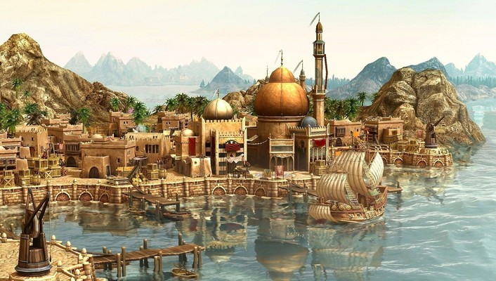 Video games harbour anno 1404 sea wallpaper