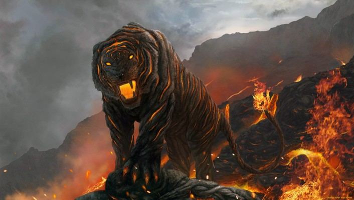 A tiger from hells volcano wallpaper