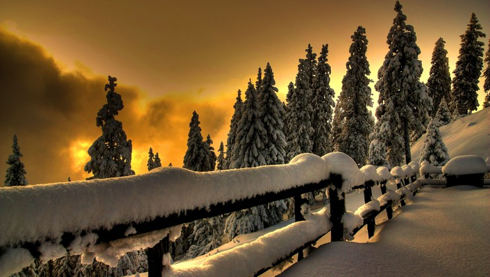 Ice winter snow fences wallpaper