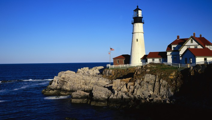 Lighthouses panorama skies sea wallpaper