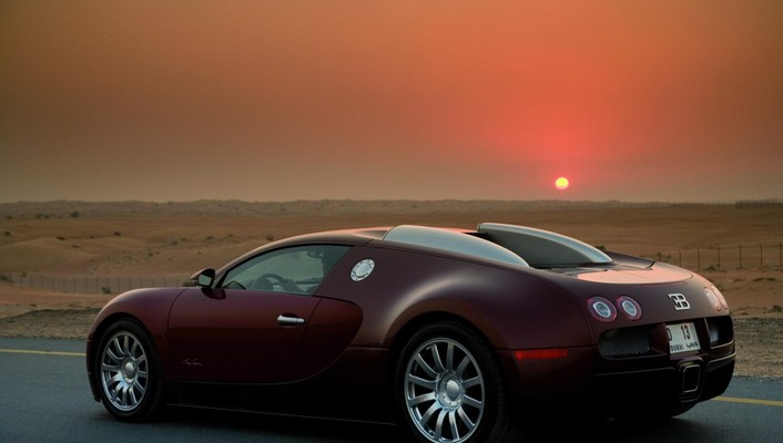 Bugatti veyron centenaire at sunset wallpaper