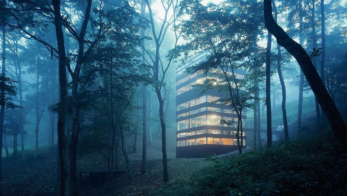 Buildings forests morning wallpaper