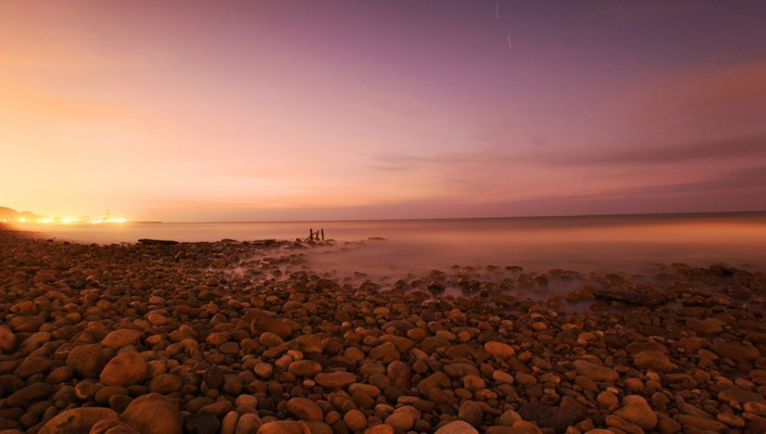Beaches evening landscapes nature rocky wallpaper