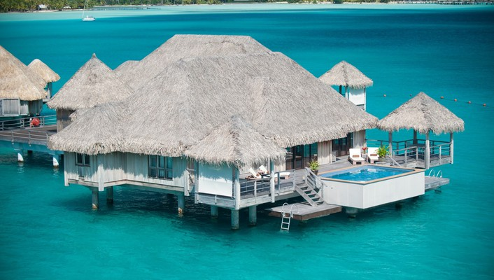 Water bungalow bora st regis hotel wallpaper