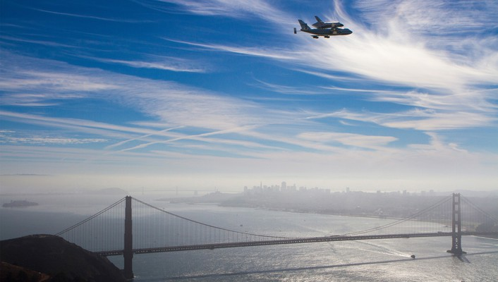 California san francisco skyscapes space shuttle endeavour wallpaper