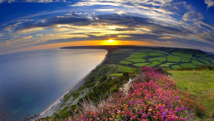 Landscapes nature sun multicolor fields panorama wallpaper