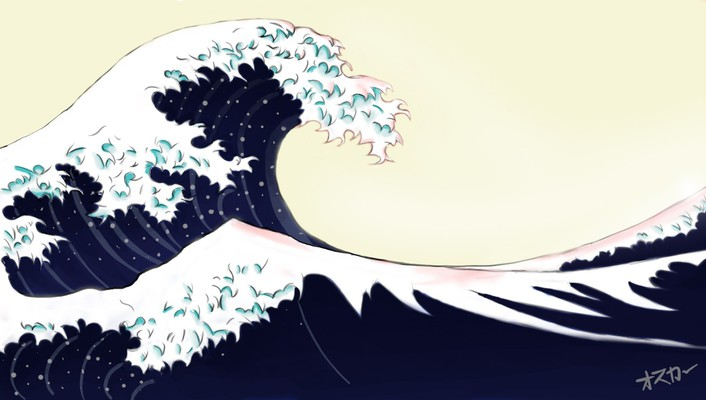 Great wave off kanagawa artwork blue ocean wallpaper