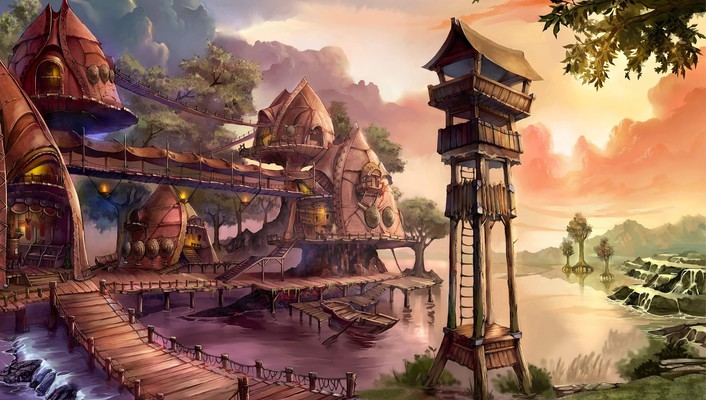 Fantasy village wallpaper