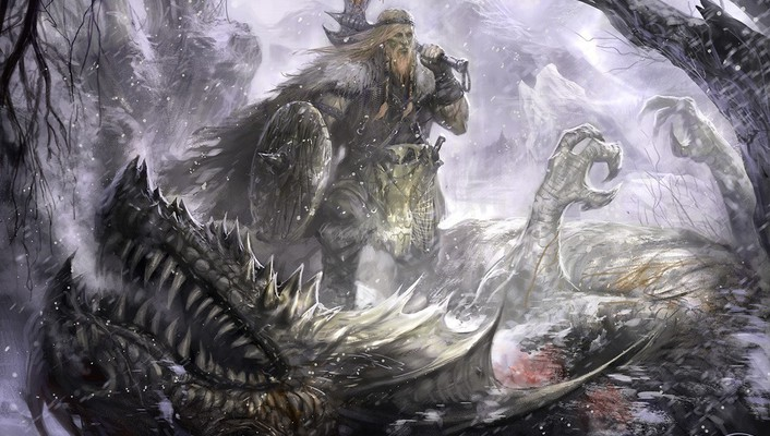 Dragons vikings fantasy art concept warriors wallpaper