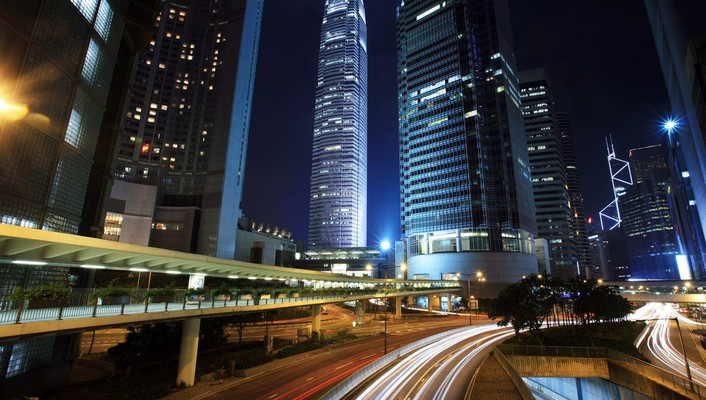 Night landscapes roads skyscrapers wallpaper