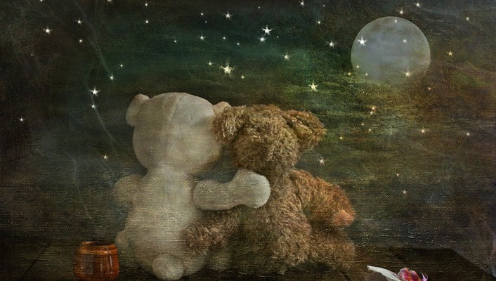 Romantic teddy bears wallpaper