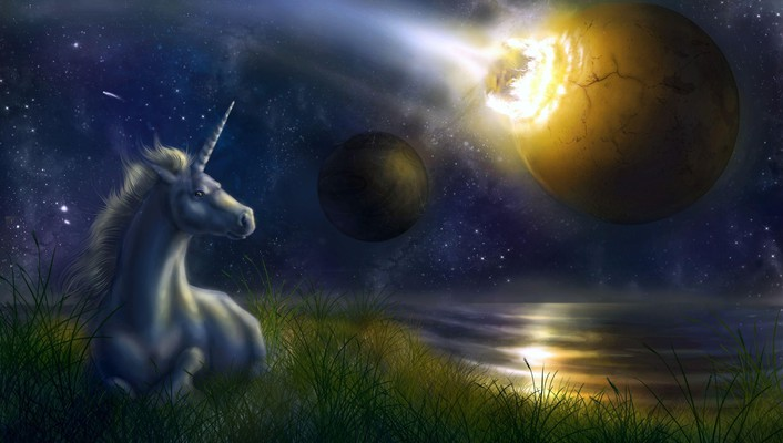 Unicorn at night wallpaper