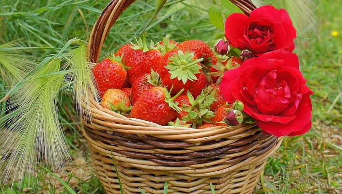 Basket of strawberries wallpaper
