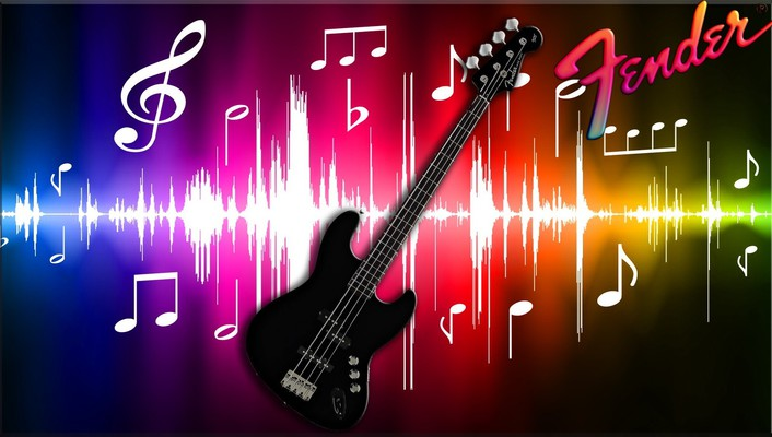 Black fender bass guitar wallpaper