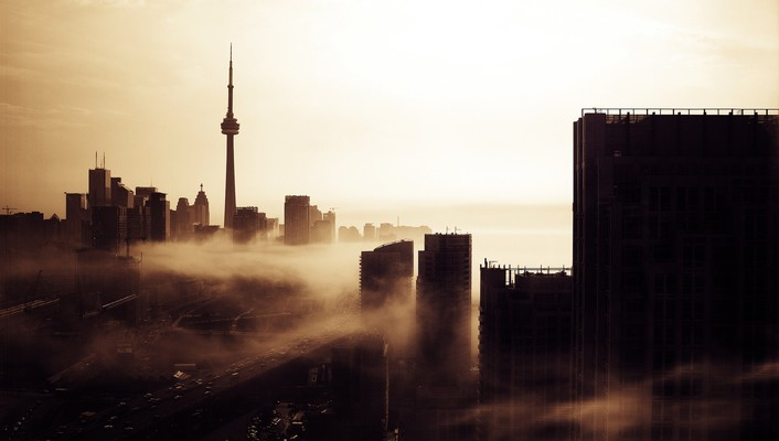 Canada toronto cityscapes fog wallpaper