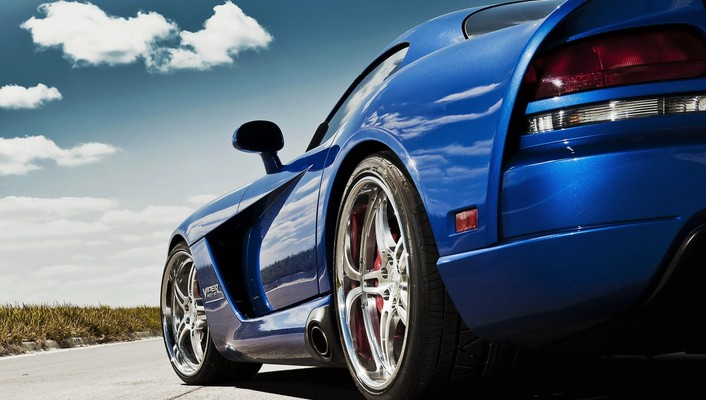 Dodge viper blue cars lowangle shot vehicles wallpaper