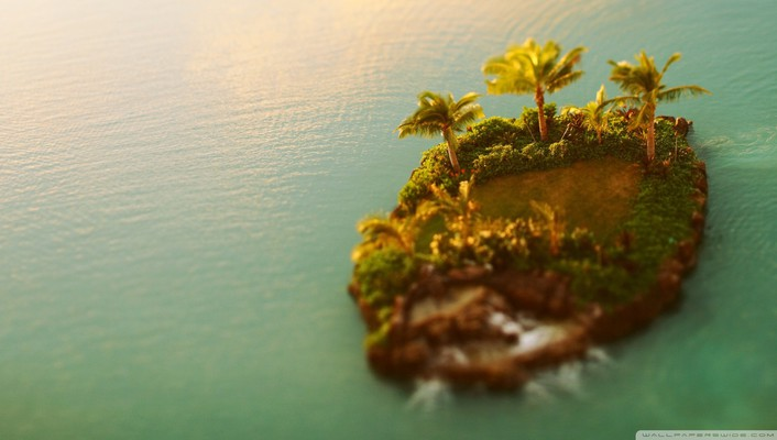 Nature trees islands tilt-shift palm sea wallpaper
