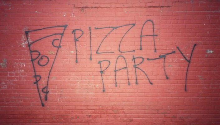 Red pizza graffiti party writing wall painting wallpaper