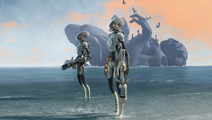 Aliens android beaches birds clouds wallpaper