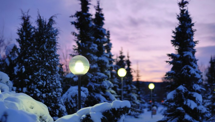 Landscapes nature winter snow lamps evening wallpaper