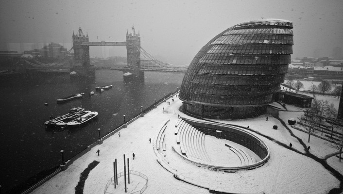 Winter snow cityscapes london fog monochrome cities bridge wallpaper