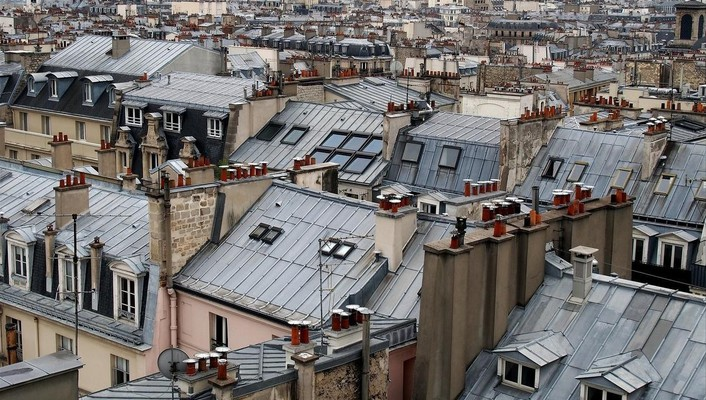 Paris houses fog rooftops cities james lapett wallpaper