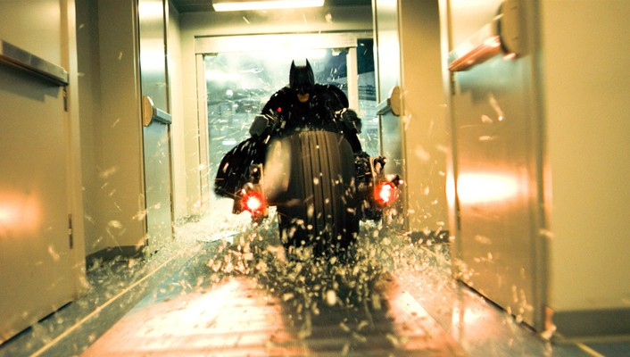 Bale the dark knight shattered glass batpod wallpaper