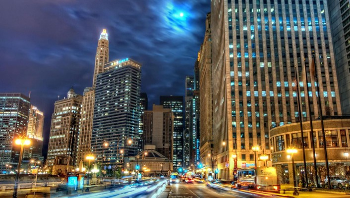 Beautiful chicago at night hdr wallpaper