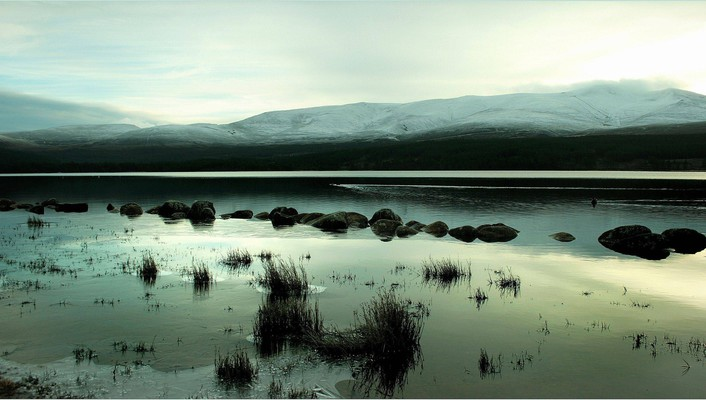 Mountains snow stones ponds reflections wallpaper