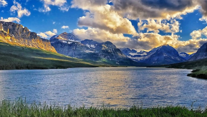 Montana blue clouds dawning forests wallpaper