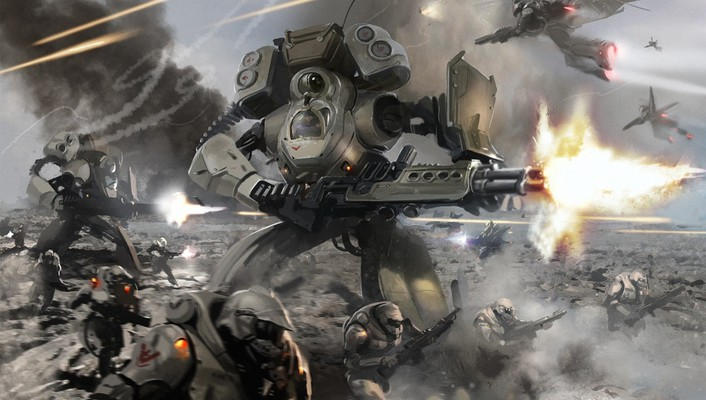 Fantasy guns explosions warfare mech sci-fi action wallpaper
