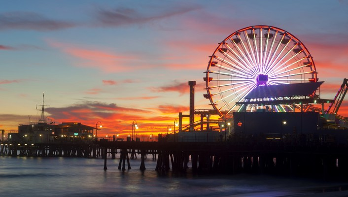Sunset pier california santa monica wallpaper