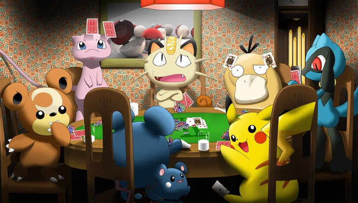 Meowth mew pikachu pokemon psyduck wallpaper
