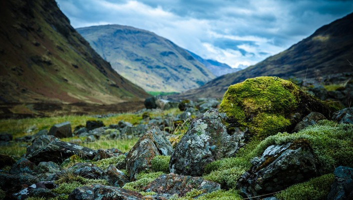 Stones in scottish valley focus wallpaper