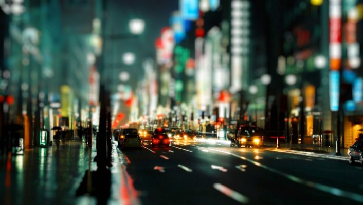 Bokeh city lights cityscapes night streets wallpaper