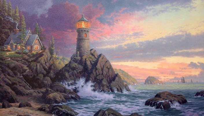 Thomas kinkade artwork landscapes lighthouses wallpaper