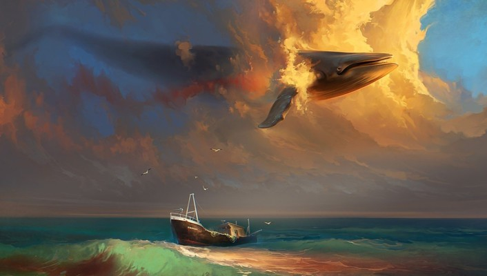 Flying fantasy art whales wallpaper