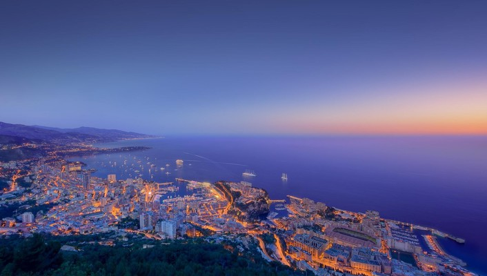 Beautiful coastal sunset of monaco wallpaper