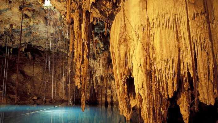 Nature mexico underground lakes caves rock formations wallpaper