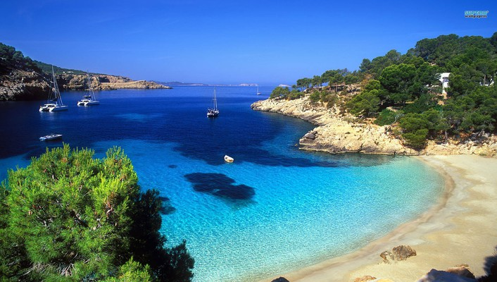 Gorgeous cove in ibeza spain wallpaper
