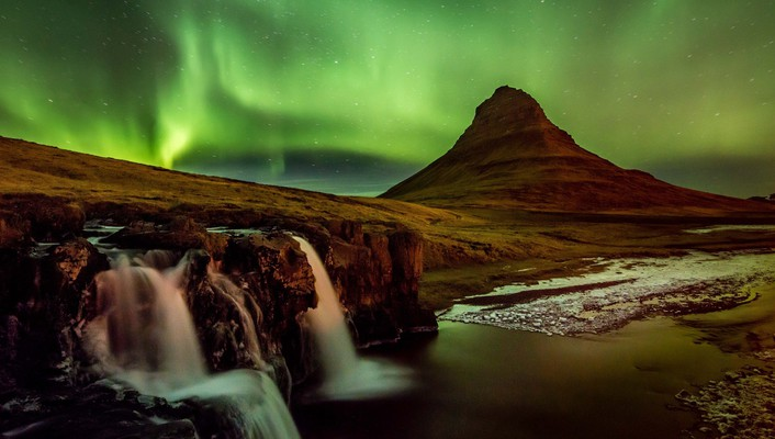 Landscapes nature night aurora iceland wallpaper