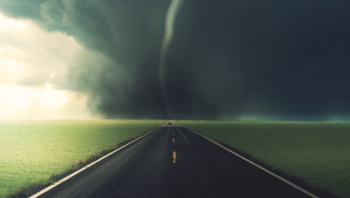 Tornado paths roads skyscapes storm wallpaper