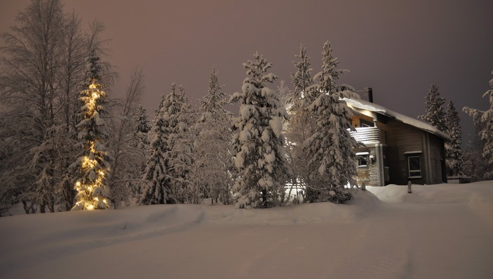 Landscapes nature snow trees houses wallpaper