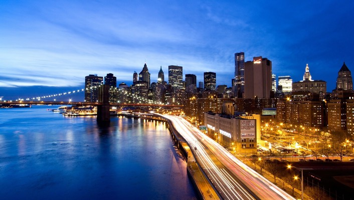 Cityscapes night manhattan wallpaper