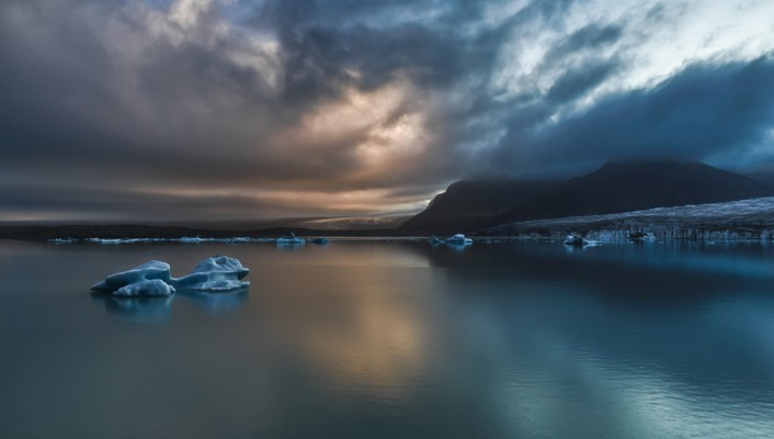 Water mountains clouds icebergs hdr photography skies wallpaper