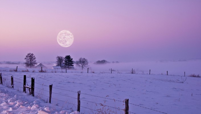 Landscapes snow moon wallpaper