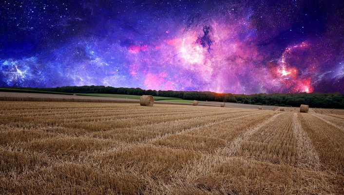 Outer space fields gothic photo manipulation wallpaper