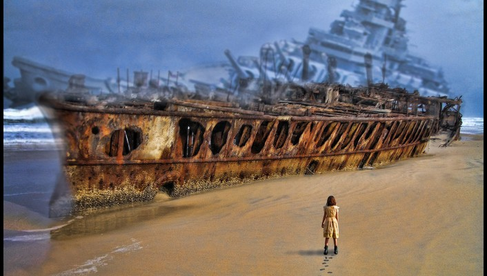 Abstract beach ships digital art shipwrecks footprint sea wallpaper