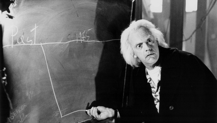White hair doc brown christopher lloyd blackboard wallpaper